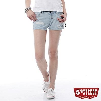 5th STREET 美式磨破牛仔短褲-女-重漂藍