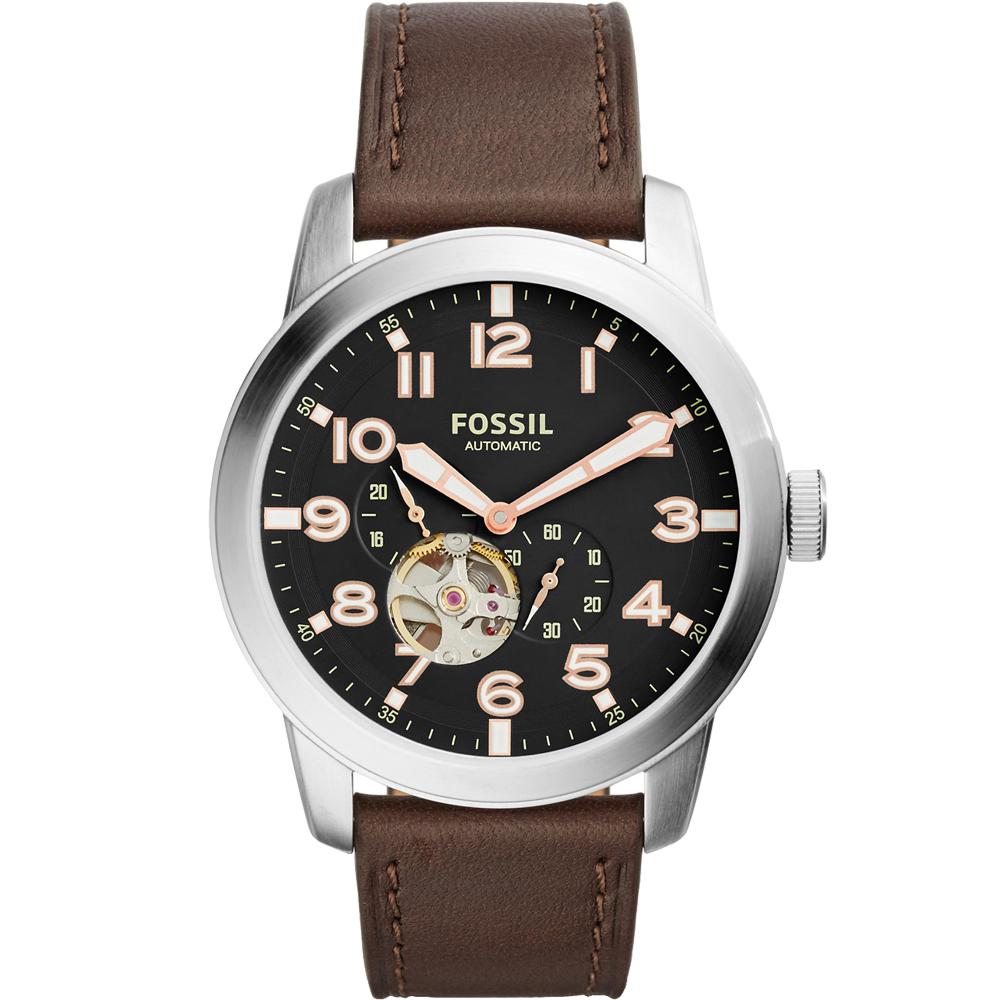 FOSSIL Townsman 經典鏤空機械真皮手錶-黑X咖啡/44mm