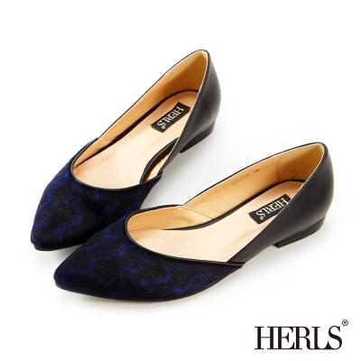 HERLS 內真皮  優雅 設計拼接平底鞋-藍色