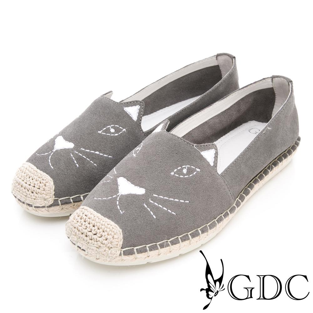 GDC-真皮可愛俏皮趣味貓奴必備時尚休閒鞋-灰色