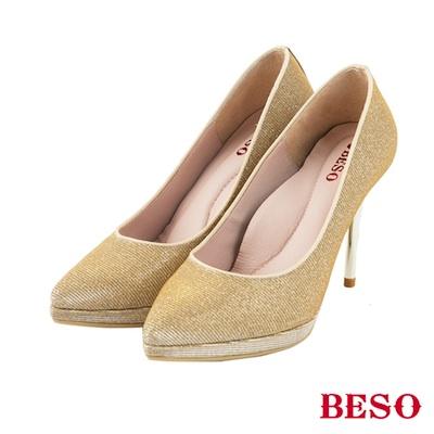 BESO神秘佳人 閃耀金蔥布素面跟鞋~金