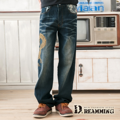 Dreamming Dragon日系膠印圖騰伸縮中直筒褲