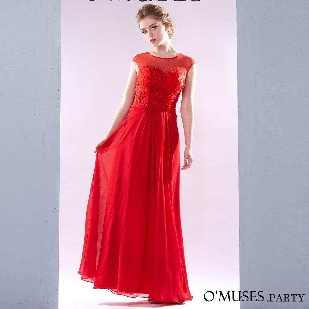 蕾絲透膚雪紡婚紗伴娘禮服-OMUSES