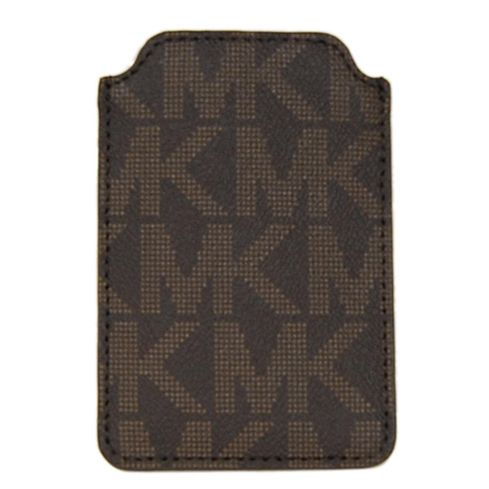 MICHAEL KORS深咖啡全皮點字MK手機套