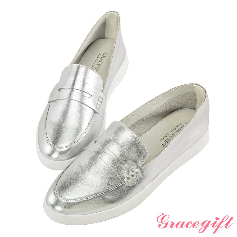 Grace gift-全真皮柔軟樂福懶人鞋 銀