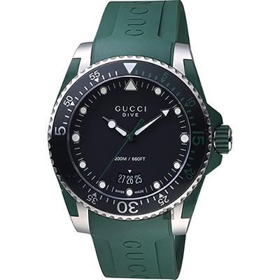 GUCCI 古馳 Dive 品牌色系200米潛水錶~綠 40mm