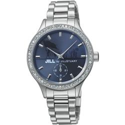 JILL STUART Big Leather系列晶鑽小秒針腕錶-雅緻藍/34mm