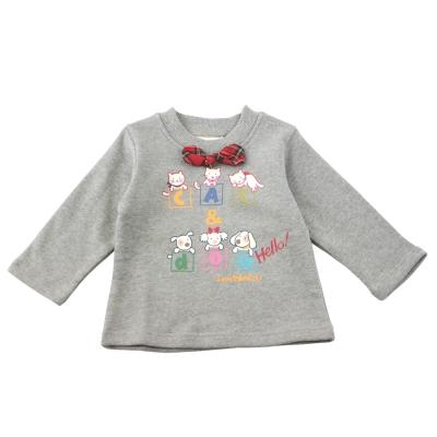 愛的世界 MYBEAR 純棉圓領蝴蝶結長袖上衣/3-4歲-台灣製-
