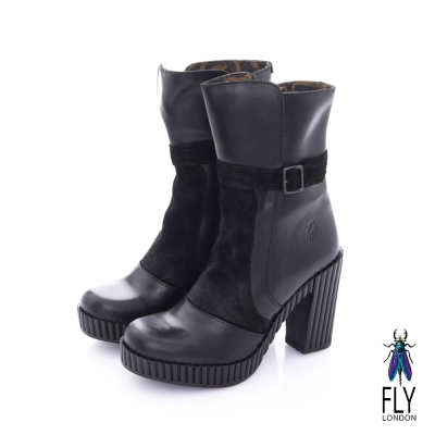 Fly London(女) 奧式優雅 雙料拼接牛皮高跟中筒靴-靚黑