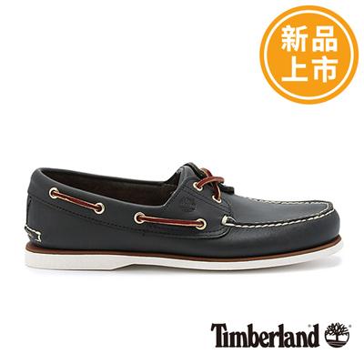 Timberland-男款海軍藍經典雙孔帆船鞋