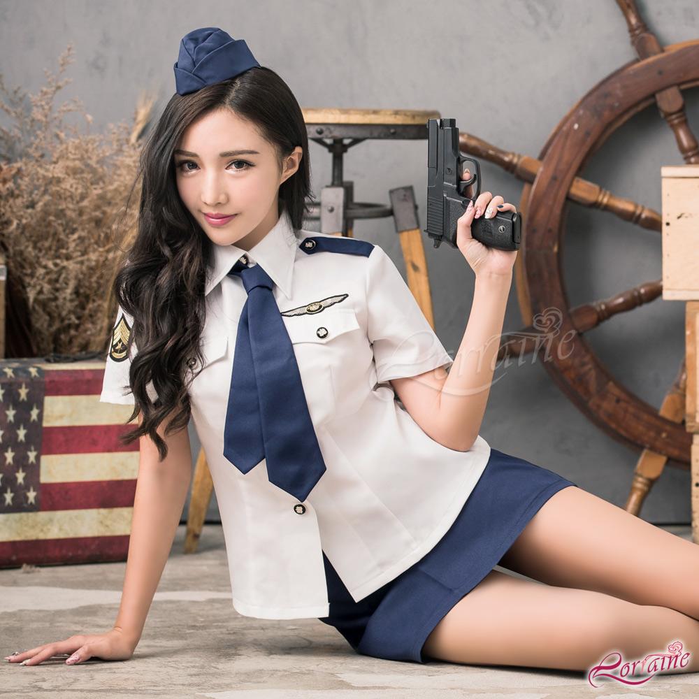 軍警 藍白軍警角色扮演服四件組(藍+白F) Lorraine