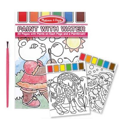 美國 Melissa & Doug 兒童水彩繪圖本, 附水彩及畫筆【粉紅色】