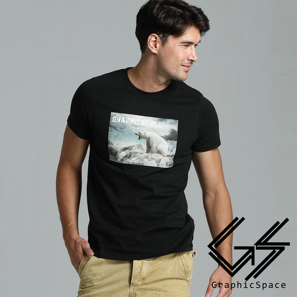 北極熊怒吼圖案磨毛水洗T恤(共二色)-Graphic Space