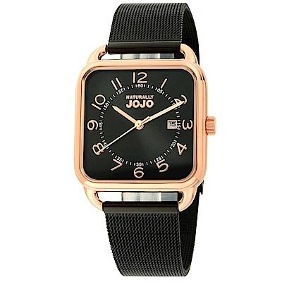 NATURALLY JOJO 數日子美好時光方型復刻米蘭帶錶-黑/32mm