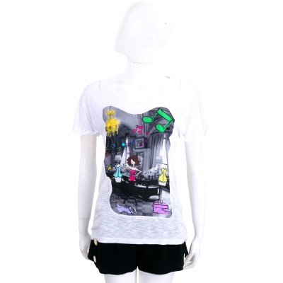 Ultrachic 白色拼接時尚女郎印花短袖T恤