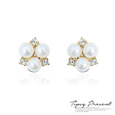 微醺禮物 耳環 珍珠水鑽 三角幾何圖形 氣質優雅 耳環