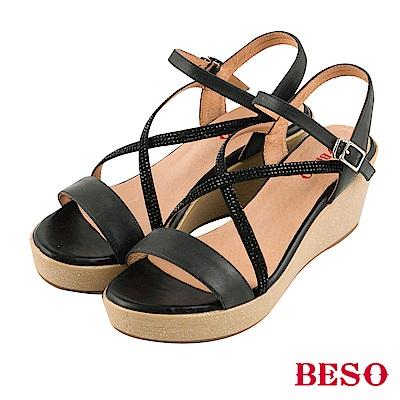BESO清夏涼感 真皮拼接交叉水鑽露趾楔型涼鞋~黑