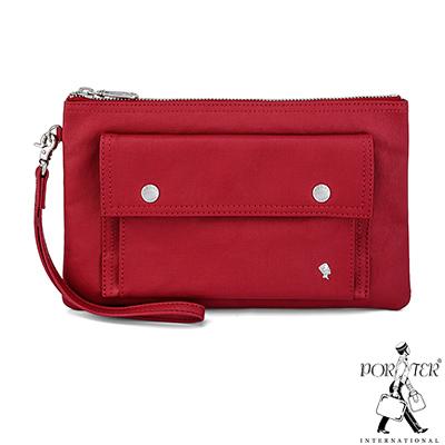 PORTER - 輕甜繽紛SPIRIT時尚手拿包 - 薔薇紅(銀)