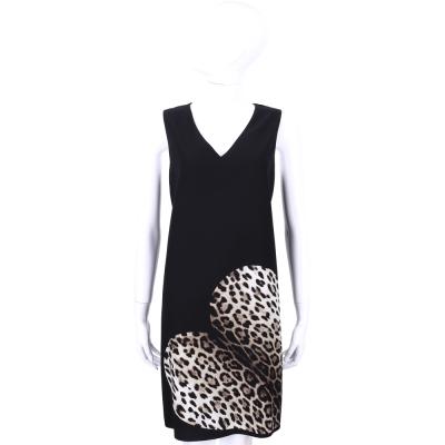MOSCHINO 黑色V領豹紋愛心圖案無袖洋裝