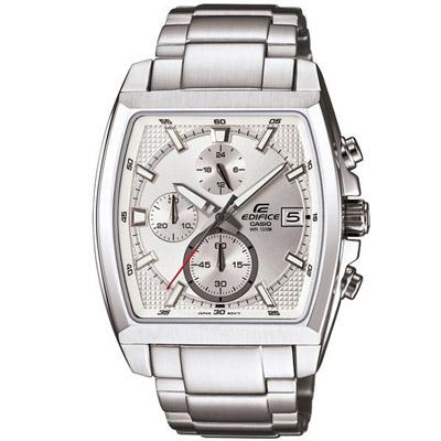 CASIO EDIFICE 簡約風尚都會運動腕錶(銀白)-39X44mm
