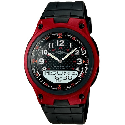 CASIO 城市都會時尚雙顯腕錶(AW-80-4B)-紅框