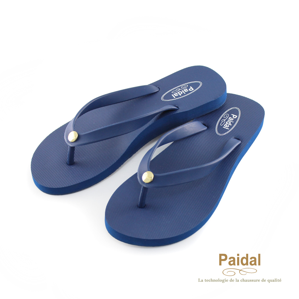 Paidal 素色女足弓款海灘拖人字拖夾腳拖鞋-深藍