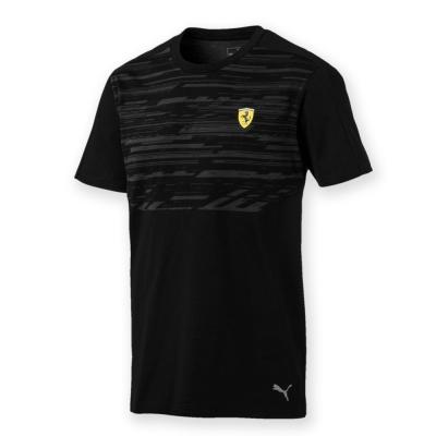 PUMA-男性法拉利車迷系列印花短袖T恤-黑色-歐規