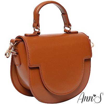 Ann'S英式經典-復古油皮圓弧馬鞍包-棕
