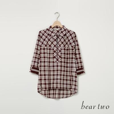 beartwo 個性運動風混搭造型襯衫(紅色)