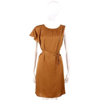 i BLUES 棕色仿緞面單肩荷葉袖設計綁帶洋裝