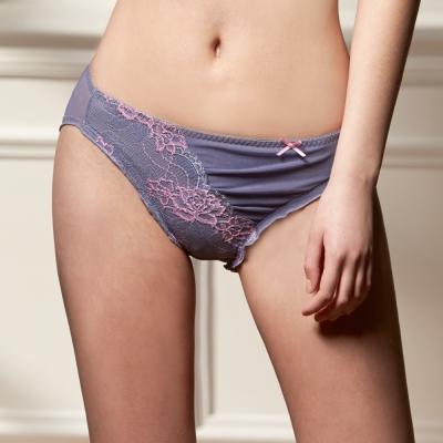 可蘭霓Clany   奢華蕾絲性感抓皺M-XL內褲  低調灰