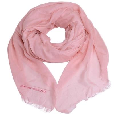 EMPORIO ARMANI 字母LOGO品牌圖騰高質感大絲巾(粉紅色)