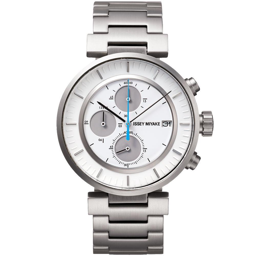 ISSEY MIYAKE 三宅一生W系列 三眼計時腕錶(SILAY007Y)-銀/43mm