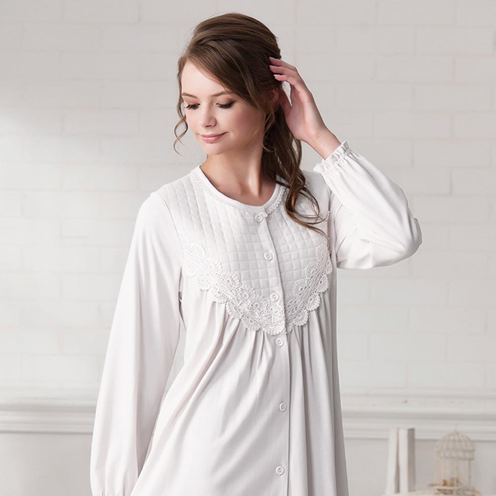 羅絲美睡衣 - 溫柔記憶長袖洋裝睡衣(純白色)