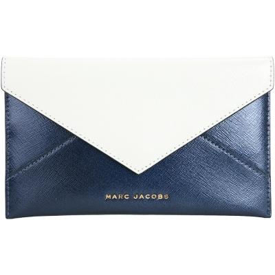 MARC JACOBS Saffiano Envelope 拼色防刮皮革信封造型皮夾(藍)