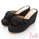 JMS-典雅美人雙層波浪美型楔型涼拖-黑色