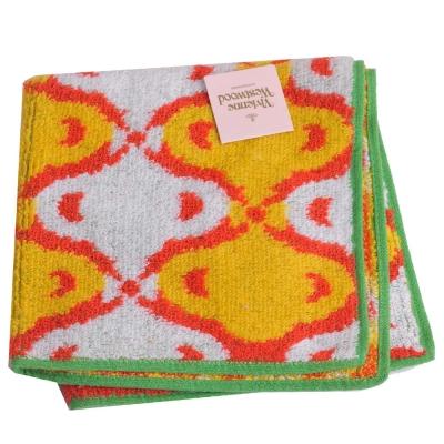 VIVIENNE WESTWOOD 閃波紋小方巾(白黃底/綠邊)