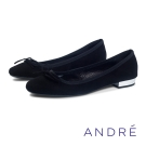 ANDRE-麂皮優雅芭蕾舞平底鞋-沉穩黑
