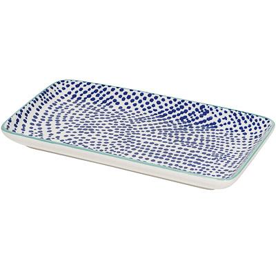 NOW 長方淺餐盤(墨點藍20.5cm)
