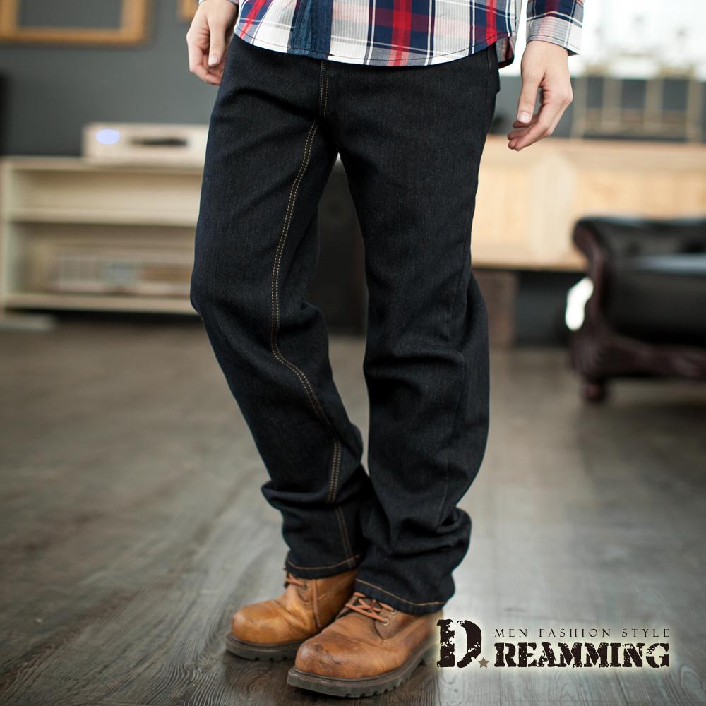 Dreamming 保暖內磨毛伸縮中直筒牛仔褲-黑色