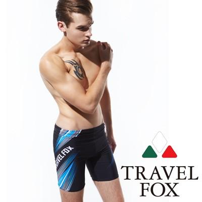 TRAVELFOX 旅狐 五分男泳褲 黑色印花藍白紋