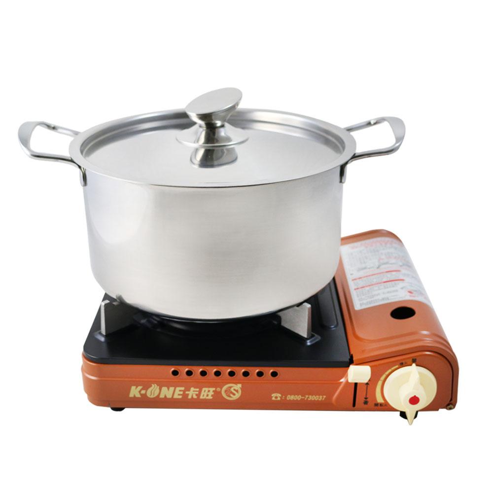 卡旺K1-A001D雙安全卡式爐+【鵝頭牌】原味料理湯鍋26cm CI-2628