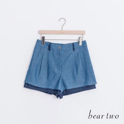 beartwo 丹寧拼接撞色打摺造型短褲(藍色)
