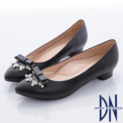 DN-典雅氣質-MIT全真皮蝴蝶結珠飾微尖跟鞋-黑