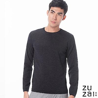 zuzai 自在發熱衣BIELLA YARNN男圓領羊毛衫-鐵灰色
