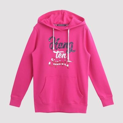 Hang Ten - 女裝 - 草寫字母美式休閒帽T - 粉紅