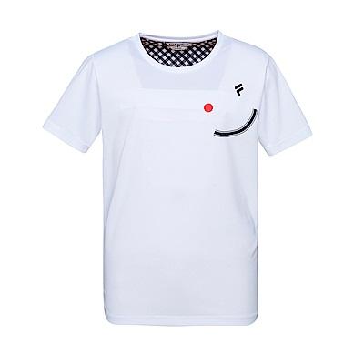 FILA #FUN開心 男款吸濕排汗圓領T恤-白 1TES-1419-WT