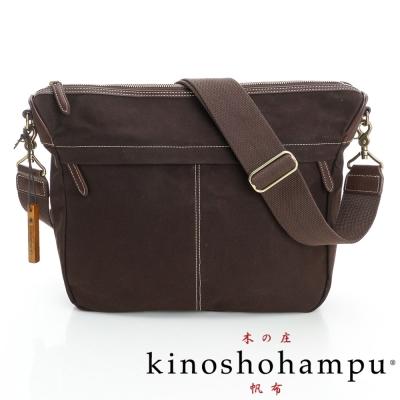 kinoshohampu雙拉鍊休閒斜背包 咖啡色