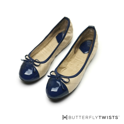 BUTTERFLY TWISTS-格紋款撞色系記憶軟墊平底鞋-粉膚