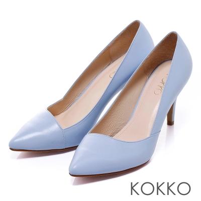 KOKKO經典再現 - 時髦尖頭斜切高跟鞋 - 寧靜藍